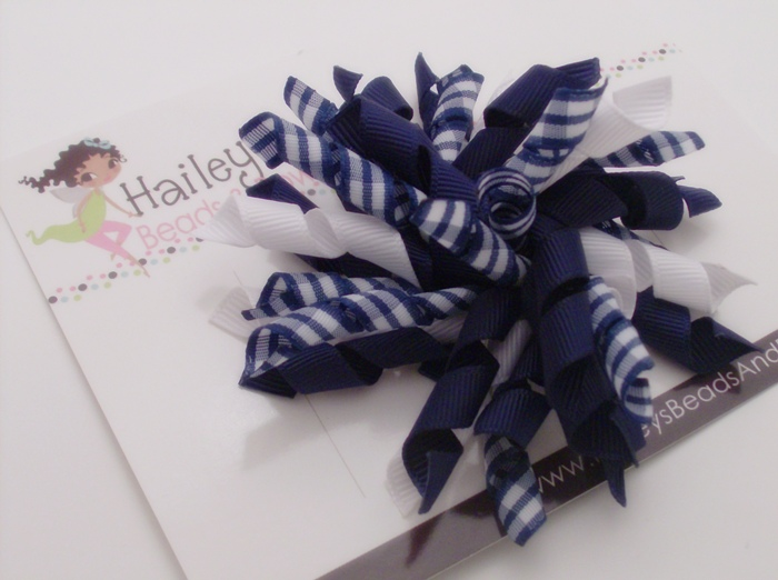 Navy Gingham Korker Hair Bow-korker hair bows, curly hair bows, large hairbows, louisiana online boutique, boutique hair bows, navy white bows, gingham hair bows, big girl bows