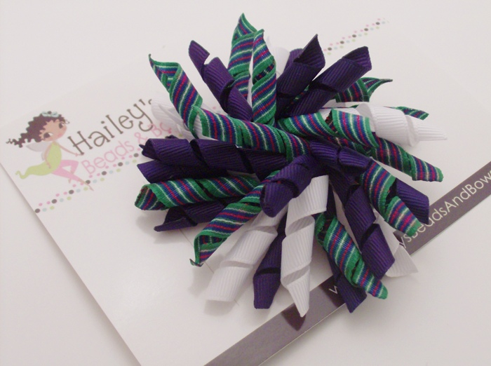 Preppy Purple Stripes Korker Hair Bow-purple green white hair bow, hairbows online, buy hair bows online, korker hair bows, corker hair bows, curly ribbon hair bows, alligator clip bows, large hair bows