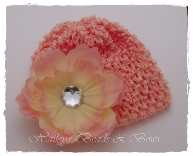 Just Peachy-crystal peony flower, flower hair clips, newborn hats, crochet baby hat, flower hats, baby flower clip, rhinestone flowers, baby shower gifts, online children's boutique