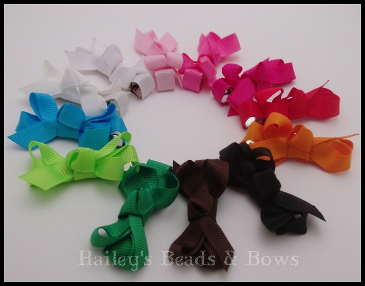 Bitty Baby Bows--Pick Your Colors--Choose 5-Bitty Baby Hair Bows, newborn hair bows, baby shower gift, tiny hair bows, no slip hair bows, bows for fine hair, small hair bows, baby bow set