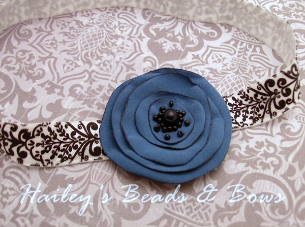 Midnight Blue Damask Singed Flower Headband-Midnight Blue Singed Flower, Damask elastic headband, soft stretchy elastic headband, blue flower headband, white blue black headband, dressy baby headband, photo props, photography props, fabric flowers, singed flowers