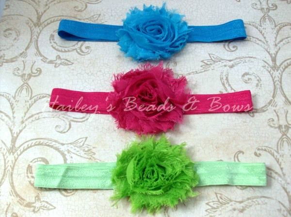 Chiffon Shabby Flower Headband Trio-Shabby Chiffon Flower Headband, shabby flower clips, chiffon flowers, frayed flower headband, frayed chiffon flowers, headbands toddler baby, hair bows, baby hairbow, toddler hairbow, soft elastic headband, stretch headband flower