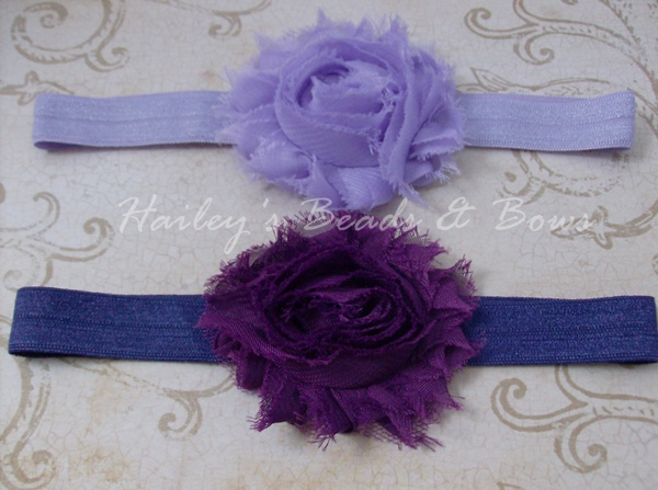 Shabby Chiffon Headband Set--Purples-lavender and purple flower headband, shabby chiffon flower headband, fabric flower headband, baby headband, baby shower gift girl, handmade louisiana, soft elastic headbands