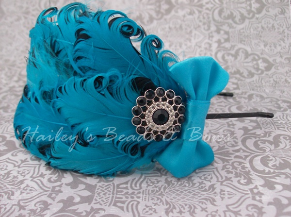 Turquoise and Black Feather Fascinator-feather fascinator, nagorie feather headband, curly feather headband, turqoise and black feather headband, adult girl feather headbands, holiday headpiece, wedding headbands