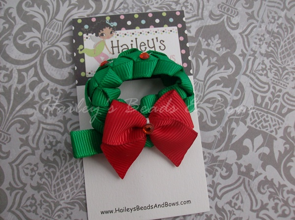 Christmas Wreath Clippie-christmas hair bows, christmas wreath clips, ribbon art clips, ribbon sculptures, holiday hair clips, baby hair bows, red green hair bows, holiday hair bows