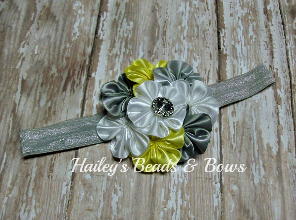 Satin Cluster Flower Headband Gray Yellow White-satin cluster flower, satin flower headband, yellow gray white headband, baby infant headband, elastic headband, soft stretchy headband, silver white yellow, rhinestone flower headband