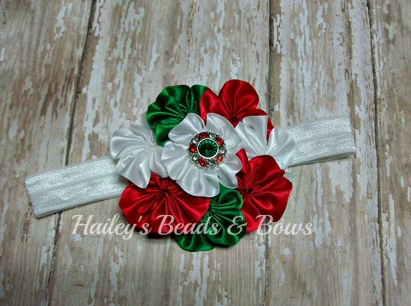 Satin Cluster Flower Headband Red White Green-satin cluster flower headband, flower headbands, baby headband, Christmas headbands, Holiday headbands, rhinestone flower headbands, red white green flowers, infant baby girl headbands, photography props