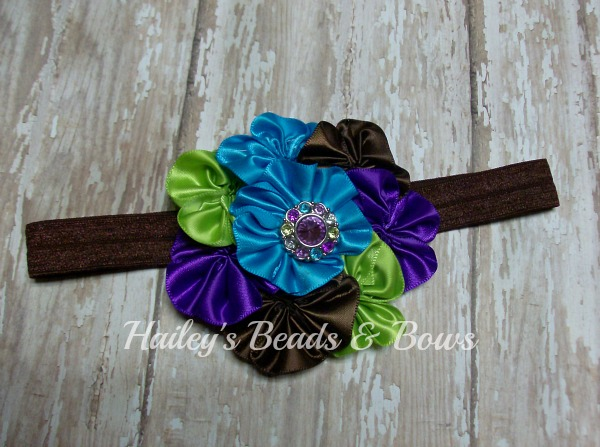Satin Cluster Flower Headband Peacock-satin cluster flower headbsnd, satin flower headband, soft elastic headbands, baby headbands, newborn headbands, peacock headbands, rhinestone flower headband, brown turquoise green purple, handmadelouisiana, handmade