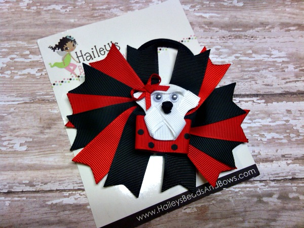 Bulldog Ponytail Holder-Georgia Bulldogs hair bow, Georgia Bulldogs ponytail streamers, Georgia football hair bow, black red hair bow, team hair bows, cheerleader hair bows, ribbon hair streamers, spike hair bows, ponytail bows, elastic pony tail