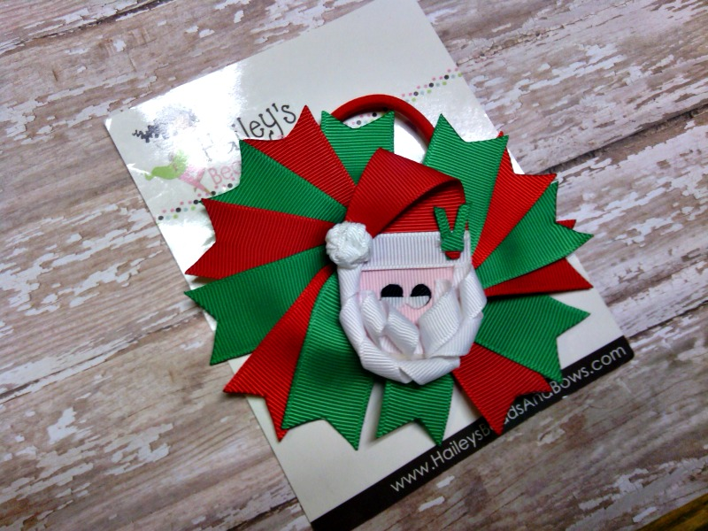 Santa Ponytail Holder-Santa hair bow, green red white hair bow, elastic hair bow, holiday hair bows, Santa Claus hair bows, ponytail holder, ponytail streamers, elastic