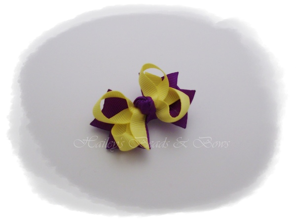 Purple and yellow bitty bow-baby hair bow, small hair bow, toddler hair bow, small hair clips, baby hair clips, purple and yellow, layered hair bows, boutique hair bows