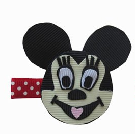 Mickey Mouse Inspired Hair Clip-Mickey Mouse hair bow, Mickey Mouse hair clips, Disney Character hair bows, Character Hair Clips, Ribbon Sculpture hair clips, ribbon art hair clips, animal hair bows