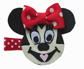 Minnie Mouse Inspired hair clippie-minnie mouse hair bow, minnie mouse hair clip, disney hair bows, disney hair clips, character hair bows, ribbon art clips, ribbon sculptures, hair bows