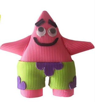 Patrick Star-spongebob hair bow, patrick star clip, character hair bows, ribbon art, ribbon sculptures, spongebob squarepants hair bow