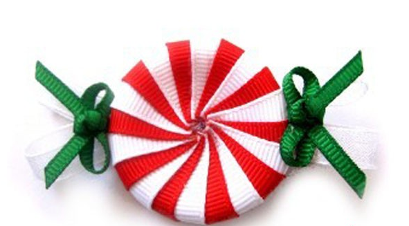 Christmas Peppermint Clippie-peppermint hair clip, Christmas hair clip, Christmas hair bow, candy hair bow, red white green bow, holiday hair clips, holiday hair bow, ribbon art clip, candy ribbon, handmade louisiana