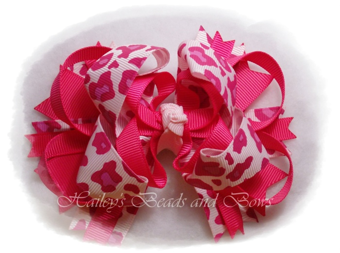 Shocking Pink Cheetah Layered boutique-animal print hair bow, shocking pink hair bow, layered boutique hair bow, spike hair bows, buy bows online, online hair bow stores, large hair bows
