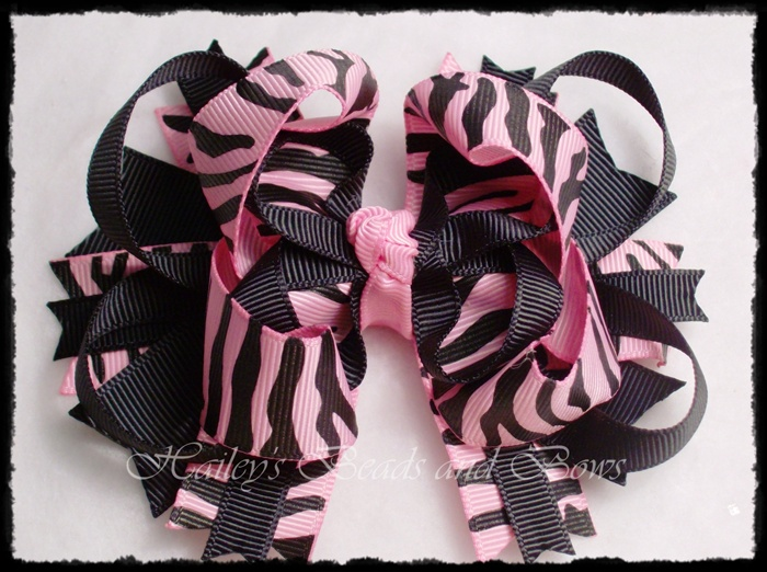 Pink Zebra Print Layered Boutique-zebra print hair bow, animal print bows, buy bows online, hairbows, hair bow, layered boutique hair bows, spike hair bows, black pink bows, handmade louisiana
