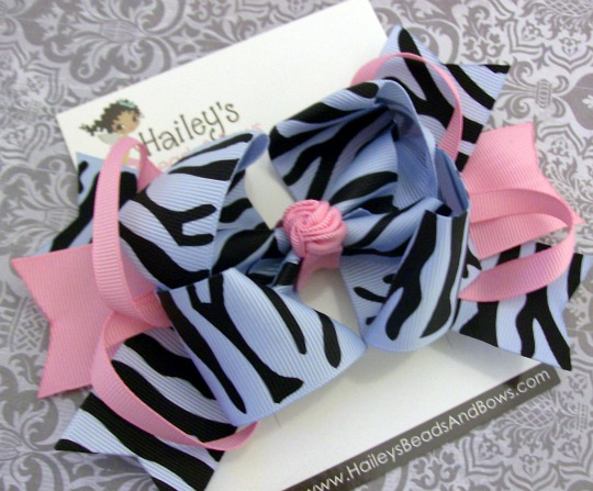 Blue and Pink Zebra Print Spikes 'N Loops Bow-zebra print hair bow, soft pink blue hair bow, animal print hair bow, extra large hair bow, large hair bows, spike hair bow
